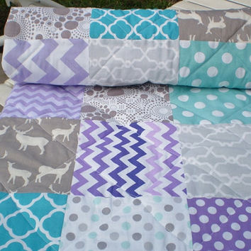 Baby quilt,Teal,grey,lavender,purple,aqua,Patchwork Crib quilt, unisex bedding,lap/toddler quilt,woodland,rustic,Birch organic,deer,chevron