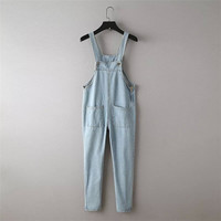 Summer Korean Women's Fashion With Pocket Denim Jumpsuit [4920281604]