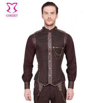 Corzzet Brown&Black Brocade Striped Stand Collar Sleeveless  Mens Steampunk Jacket Burlesque Gothic Plus Size 6XL Men Clothing