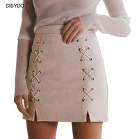 Leather Skirts High Waist Sexy Vintage Lace Up Zipper Split Office Skirts Women Solid Mini Body con Pencil Skirt
