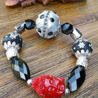 Glam Collection - One of a kind Red Buddha Charm/Mixed Beaded Charms Hand Made