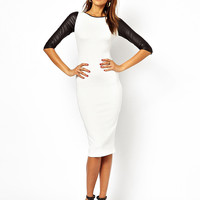 Black And White Leather Sleeve Dress