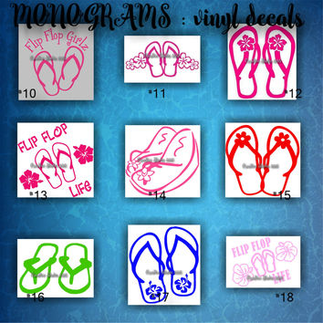 FLIP FLOPS vinyl decals | summertime | beach | decal | sticker | car decals | car stickers | laptop sticker - 10-18
