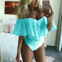 Blue Strapless Lace Bodysuit
