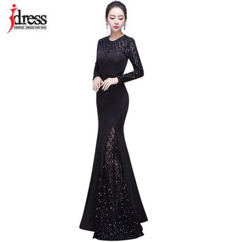 IDress Long Sleeve Sequin Dress Floor-Length Mesh Patchwork Maxi Dresses Long Gown 2018 New Fashion Sexy Vestidos De Festa Longo