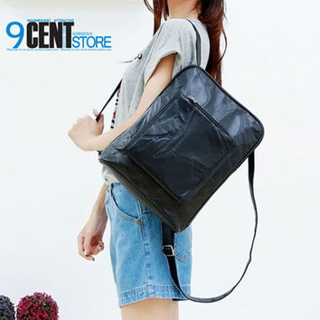 Great BackPacks patch work lambskin and PU leather Black Shoulder bag for women lady school satchel goatskin casual