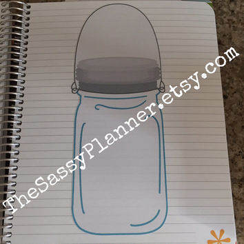 FREE SHIPPING C5 Large Mason Jar Sticker for Erin Condren Life Planner/Plum Paper Planner
