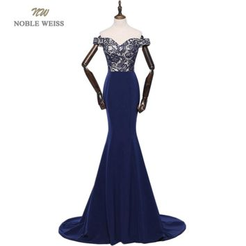 NOBLE WEISS Luxurious Lace Mermaid Long Evening Dresses 2018 V-Neck Dark Blue Pageant Prom Gowns Formal Evening Gown