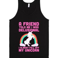 I Almost Fell off My Unicorn-Unisex Black Tank