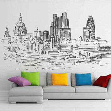 London Skyline Wall Decals London Wall Decals Cityscape London Wall Decals England Wall Decals kik2399