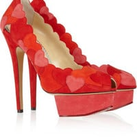 Charlotte Olympia Love Me heart-appliquéd suede pumps – 50% at THE OUTNET.COM