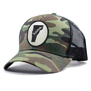 Homeland Tees Men's Vermont Home State Army Camo Trucker Hat - Black