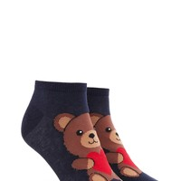 Heart Bear Print Ankle Socks