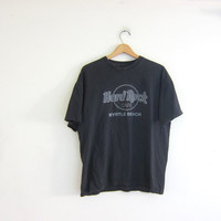 Vintage Hard Rock Cafe Tshirt. Myrtle Beach novelty shirt. washed out faded black tee shirt