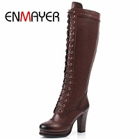 ENMAYER Winter Boots Shoes Woman High Quality Sexy  Women Thigh High Boots Lace Up Knee Boot High Heel Retro Knight Boots