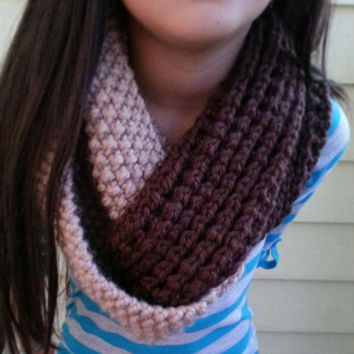 Mixed Textured Two Toned Chunky Cowl with a Twist. Available in Shades of Brown and Shades of Gray. Custom Order in Your Choice of Colors.