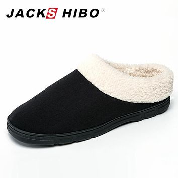 JACKSHIBO Mens Plush Fleece Lined Slippers Memory Foam Clog Comfortable House Indoor Slippers Winter Mens Fur Slides Size 8-10