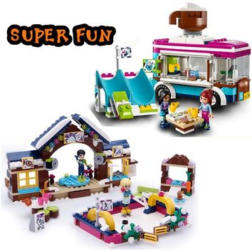 City Friend Princess dollhouse Snow Resort Hot Chocolate Van Ice Rink Building Blocks Compatible with legoingly