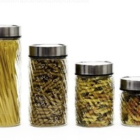 4 Pc Glass Twist Design Canister Set with Date Dial Lids