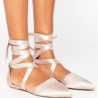 The March Tie Up Point Flat Shoes at asos.com
