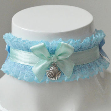 Kitten play collar - Mermaid shores - ddlg little princess cute kawaii pastel choker - baby blue and green collar with shells pendants