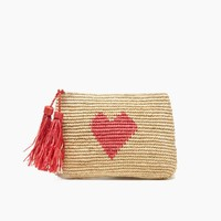 Carrie Crocheted Raffia Clutch With Cotton Lining, Zip Closure & Raffia Tassels - Coral