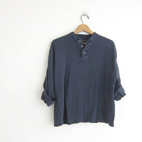 vintage long sleeve washed out gray blue top. button front henley. cotton shirt M