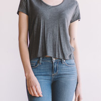Cropped Tee-Charcoal