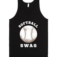 Softball Swag (Dark Tank)-Unisex Black Tank