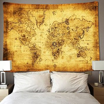 Vintage World Map Tapestry Wall Hanging Dorm Decor, Psychedelic Tapestry Wall Hanging Ethnic Decorative