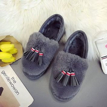 Bow Tassels Warm Soft Flat Loafers For Women