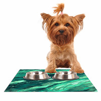 "Ebi Emporium ""Agate Magic - Teal Green Multi"" Jade Painting Dog Place Mat"