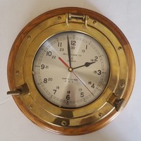 Vintage Brass Wood Porthole Framed Wall Clock Ships Time Quartz NOT WORKING
