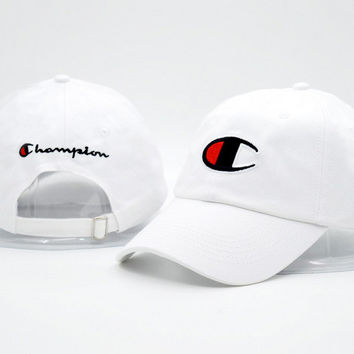 White Champion Printed Cotton Adjustable Sport Caps Hats
