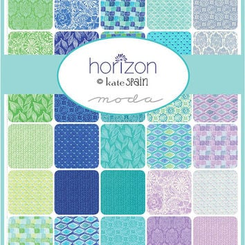 "HORIZON Charm Pack by Kate Spain for Moda, 5-Inch Squares, Precut Fabric, 5"" Squares, Precut Squares, Floral Fabric, Blue Green Lavendar"