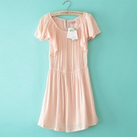 A line Pale Pink Lotus sleeve Pleated Viscose Sweet Dresses