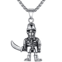 Stainless Steel Gothic Skull Soldier W. Sword Pendant Necklace