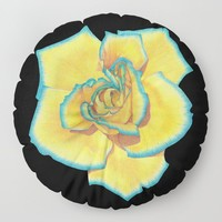 Yellow and Turquoise Rose on Black Floor Pillow by drawingsbylam