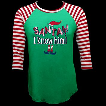 Couture Lightheart Santa I Know Him Raglan Long Sleeve T-Shirt