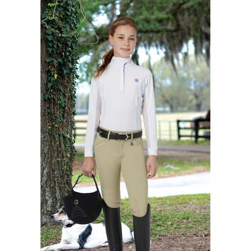 Romfh Girl's Sarafina Mid-Rise Knee Patch Breeches - Beige