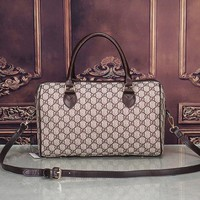 One-nice™ Gucci Women Leather Flower Print Luggage Travel Bags Tote Handbag H