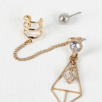 Ear Cuff and Geometric Earrings