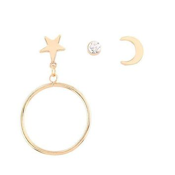 ac spbest JERPVTE Exaggerated Women Big Circle Round Earrings Multi-element Combination Earrings Jewelry Gift
