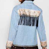 Elise Tapestry Back Denim Jacket | Boohoo