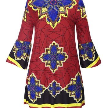 Casual Loose Off Shoulder Bell Sleeve Shift Dress In Tribal Printed
