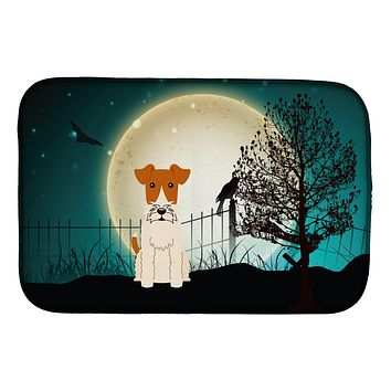 Halloween Scary Wire Fox Terrier Dish Drying Mat BB2291DDM