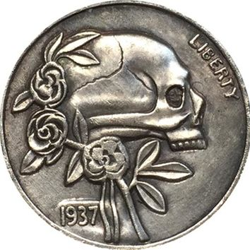 Hobo Nickel 1937 D 3 LEGGED BUFFALO NICKEL SKULL RARE