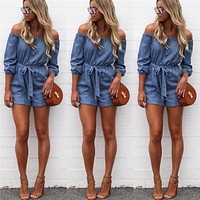 DENIM OFF-THE-SHOULDER ROMPER