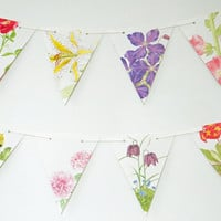 Flower Bunting, 10 feet recycled Floral Garland, eco-friendly banner, upcycled bunting, natural wedding decor, Wedding Pennants