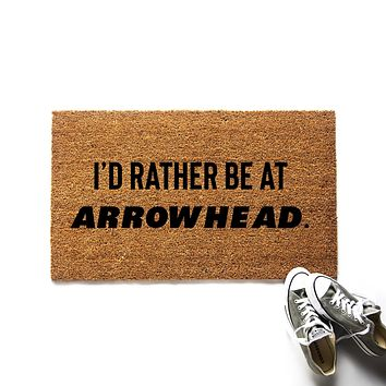 I'd Rather Be at Arrowhead Kansas City Chiefs Doormat